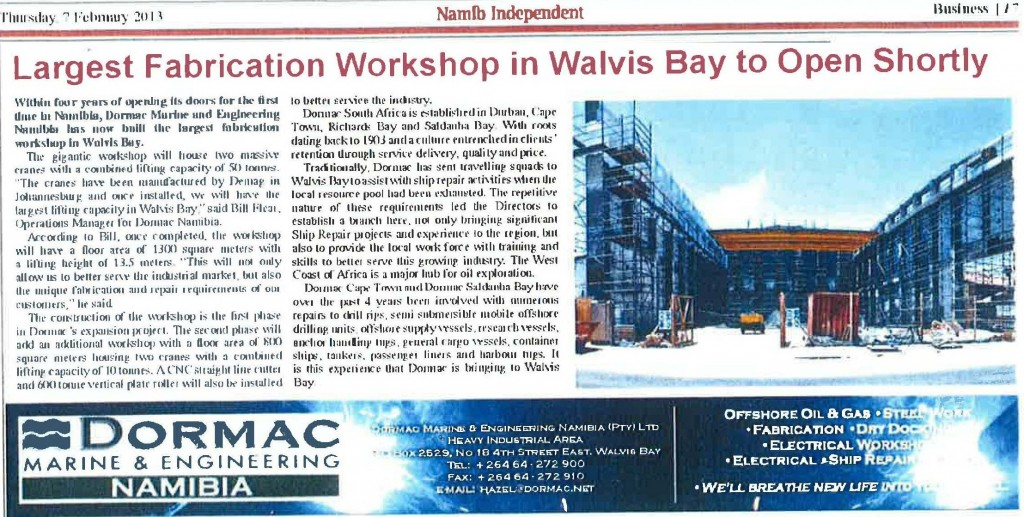 Largest Fabrication Workshop In Walvis Bay To Open