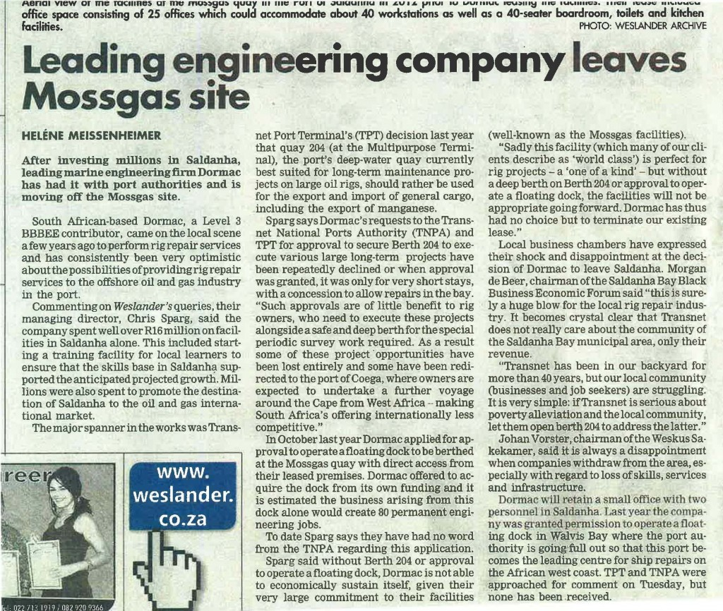 Leading Engineering Company Leaves Mossgas Site